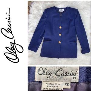 Oleg Cassini blue wool blazer Gently used Size 12